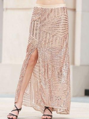 Sequins High Slit Long Skirt - Platinum