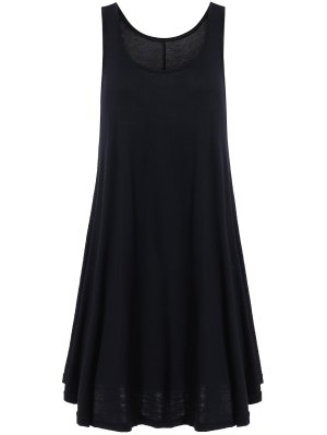 Irregular Hem Scoop Neck Sundress - Black