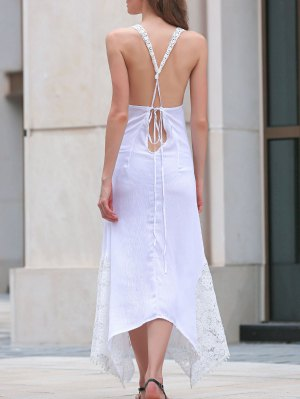 Lace Splice Sleeveless White Dress - White