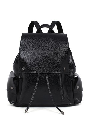 PU Leather Solid Color Cover Satchel - Black