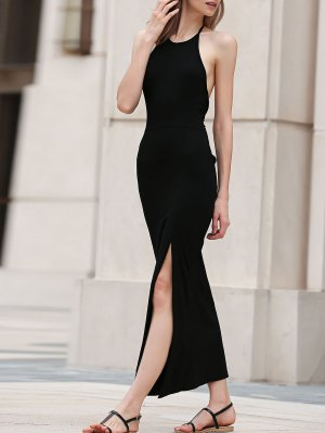 Black Side Slit Halter Maxi Dress - Black