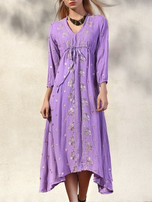 High Waisted V-Neck 3/4 Sleeve Embroidery Dress - Purple