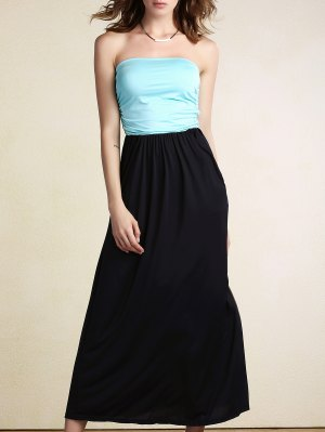 Hit Color Bandeau Maxi Dress - Light Blue