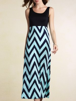 Zig Zag Splice U Neck Sleeveless Maxi Dress - Blue
