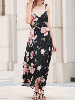 Spaghetti Strap Low Cut Floral Maxi Dress - Black