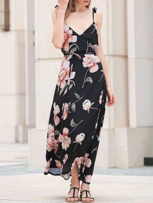 Spaghetti Strap Low Cut Floral Maxi Dress - Black