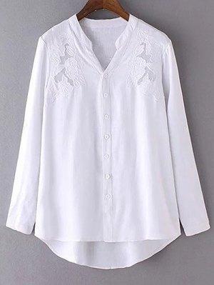 White Embroidery V Neck Long Sleeve Shirt - White