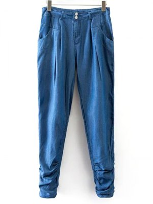 Chambray Casual Pockets Harem Pants - Ice Blue