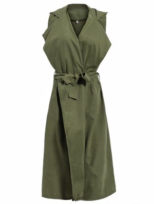 Lapel Belted Overlay Waistcoat - Army Green