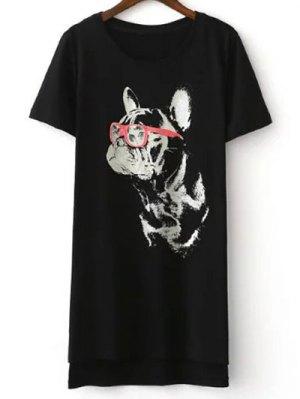 Cartoon Cat Print Short Sleeve T-Shirt - Black