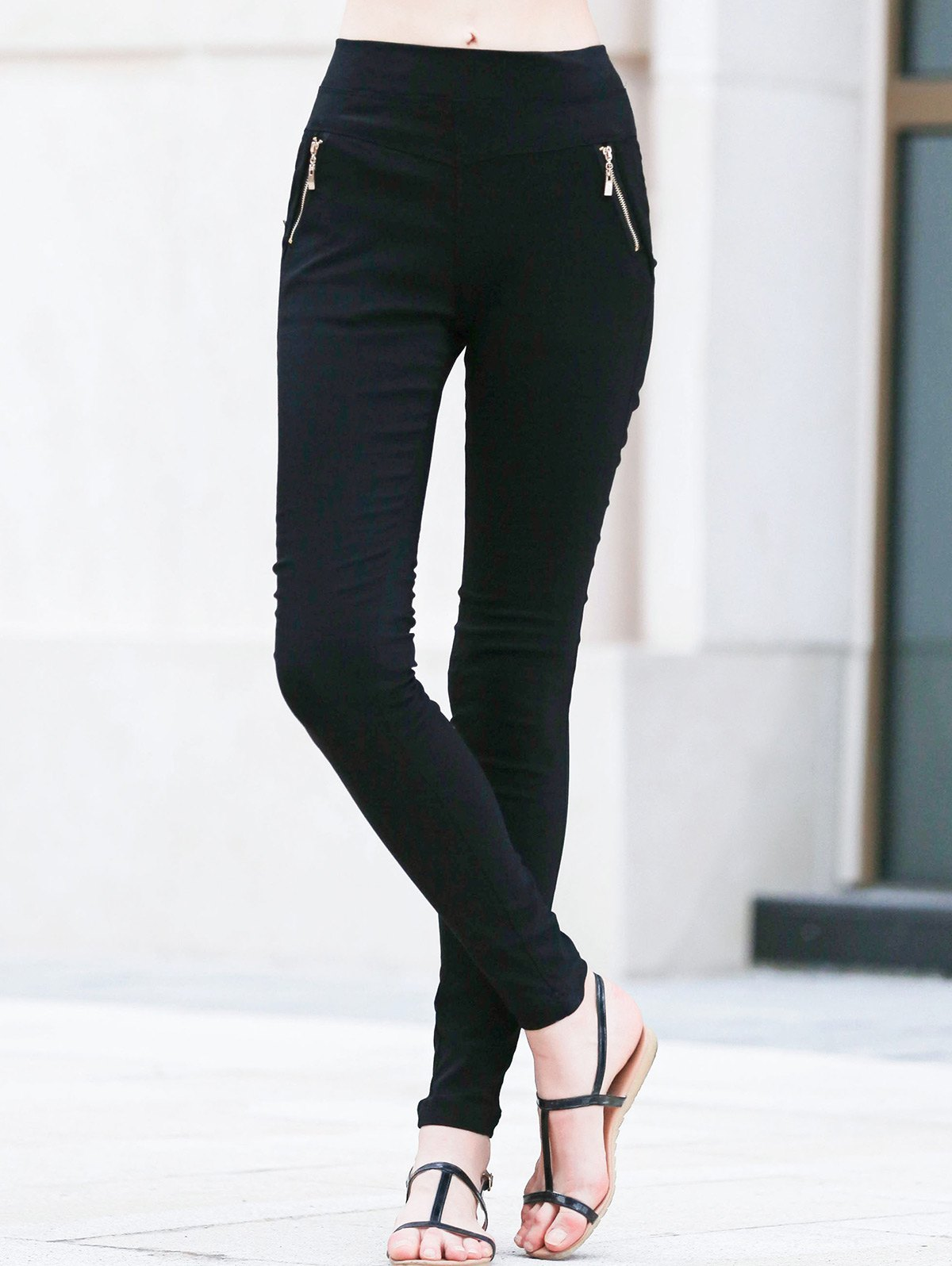 Zipped Skinny Black Pencil Pants