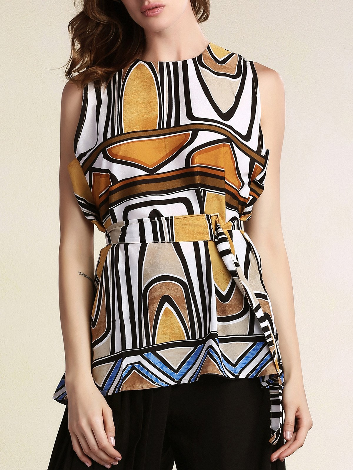Round Neck Sleeveless Geometric Pattern Dress