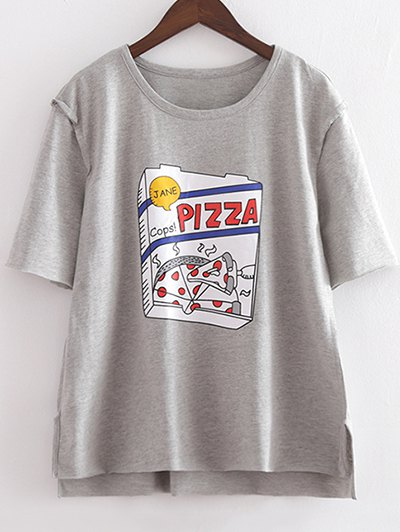 Round Neck Short Sleeve Cartoon Print Loose T-Shirt