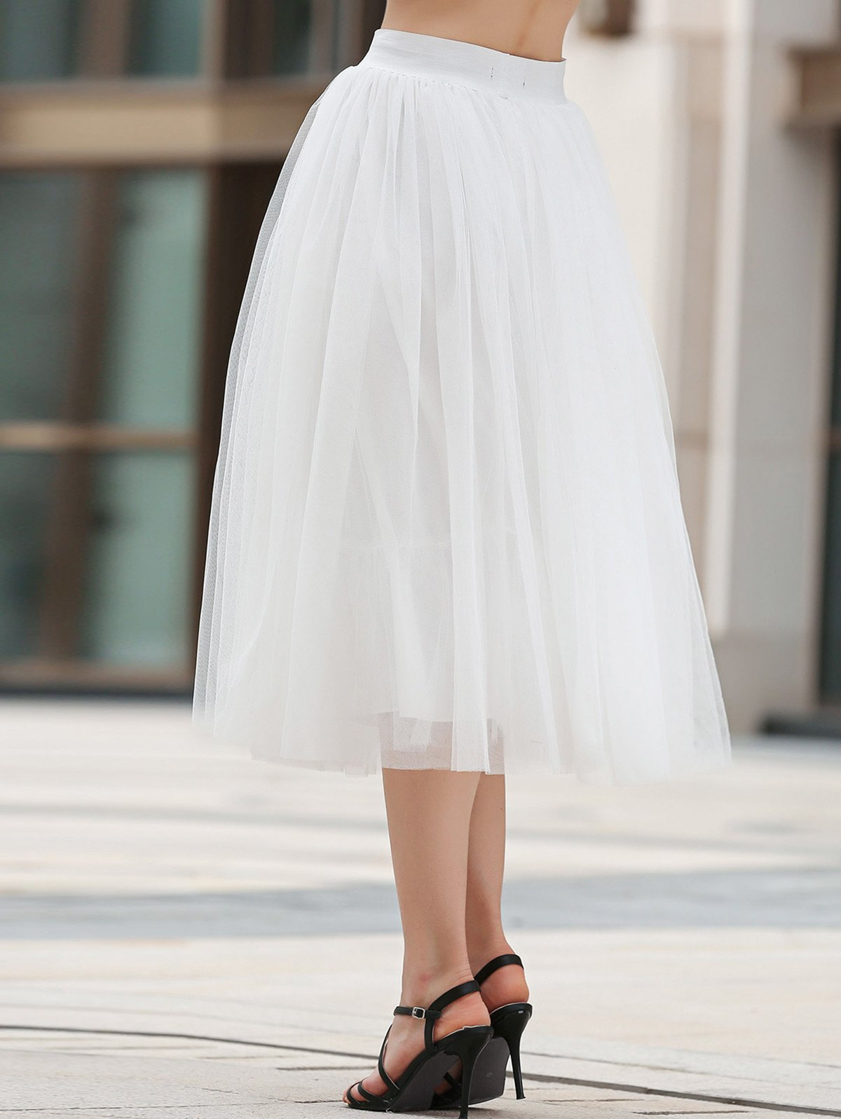 Solid Color Mesh A Line Skirt