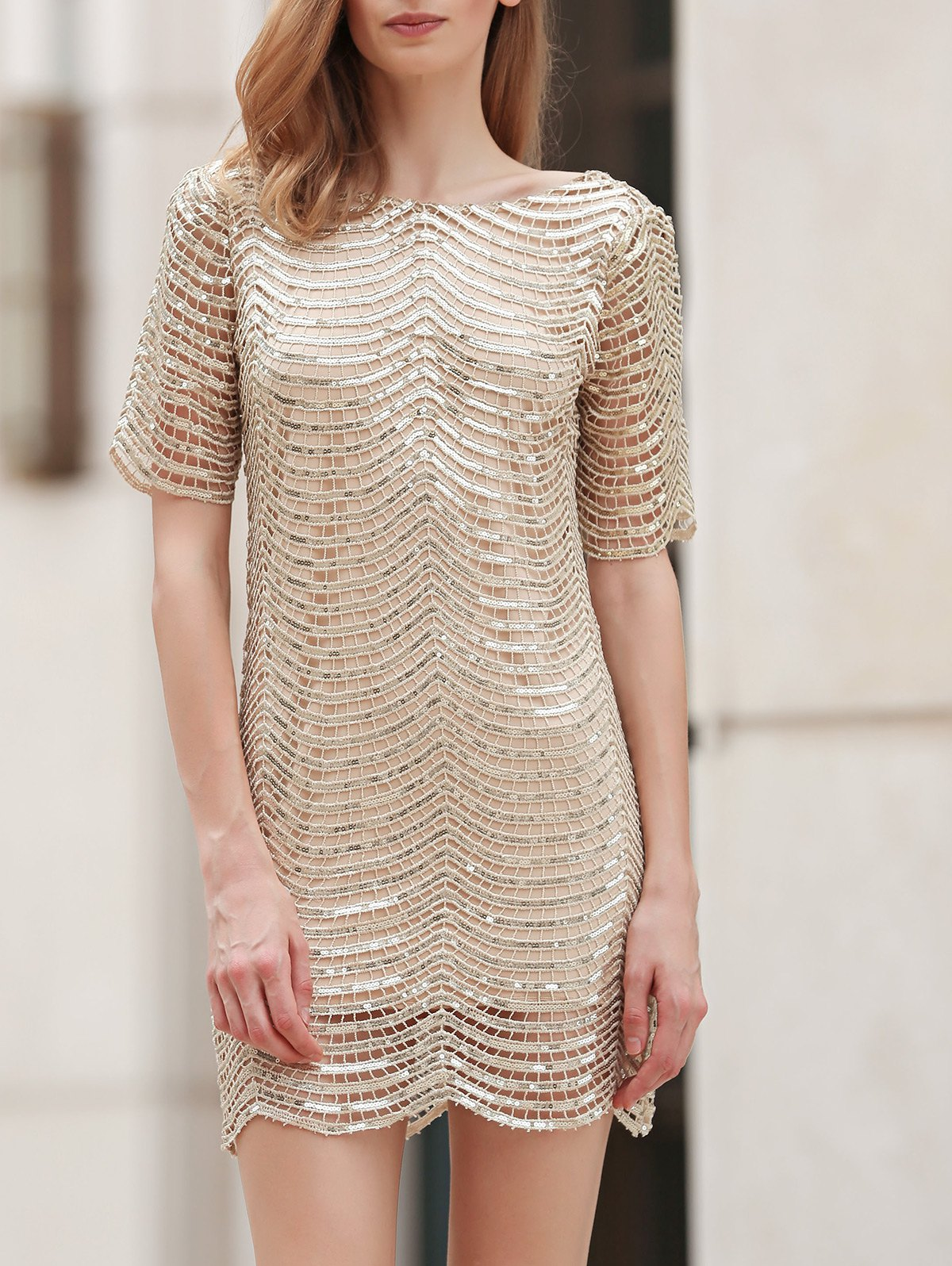 Scoop Neck Half Sleeve Sequins Dress