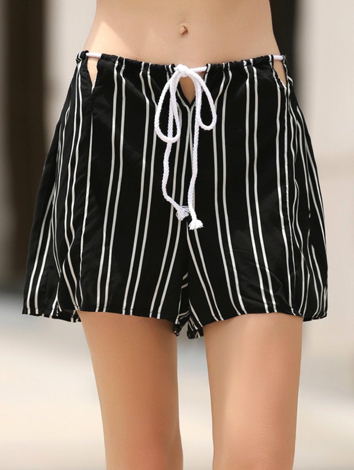 High Waist Loose Stripes Cut Out Shorts