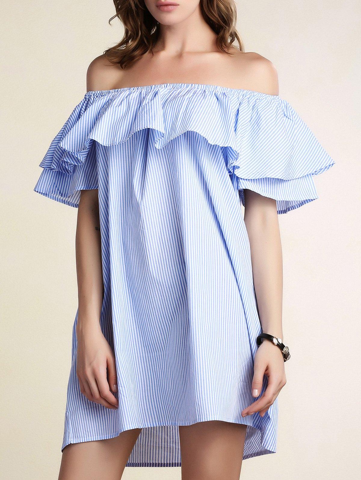 Scoop Neck Flouncing Loose Striped Dress