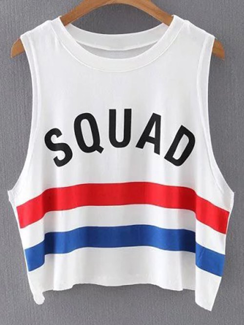 Round Neck Letter Stripe Tank Top