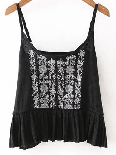 Embroidery Ruffles Cami Tank Top