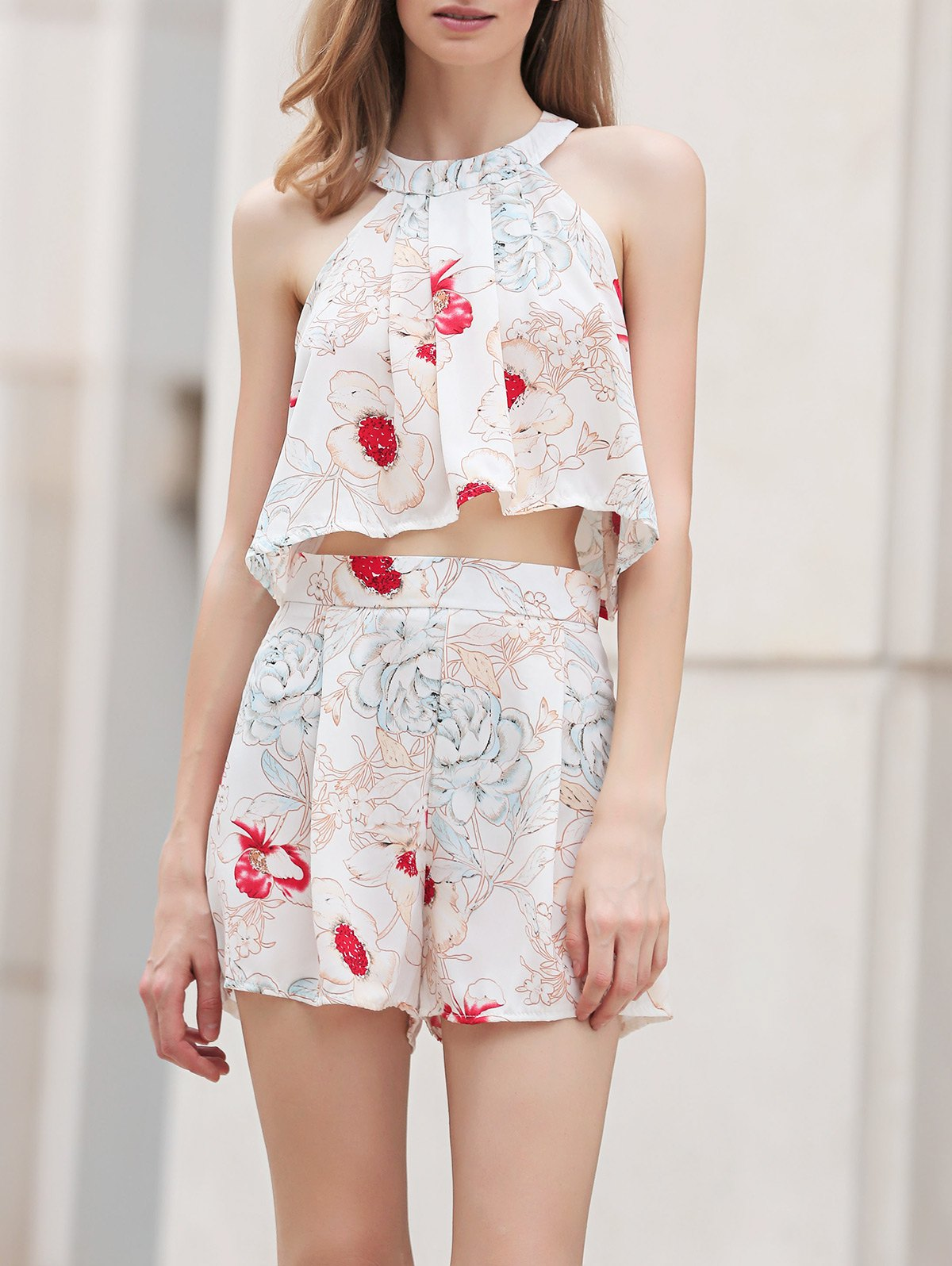 Floral Print Cropped Top and Shorts Twinset