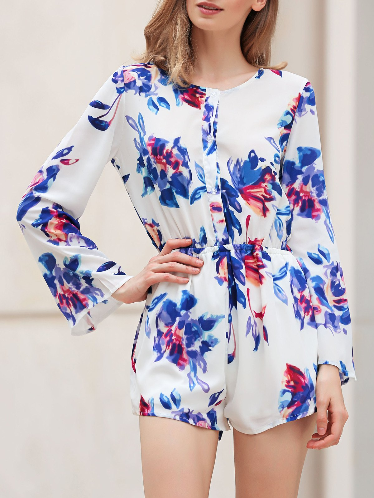 V-Neck Long Sleeve Flower Print Romper