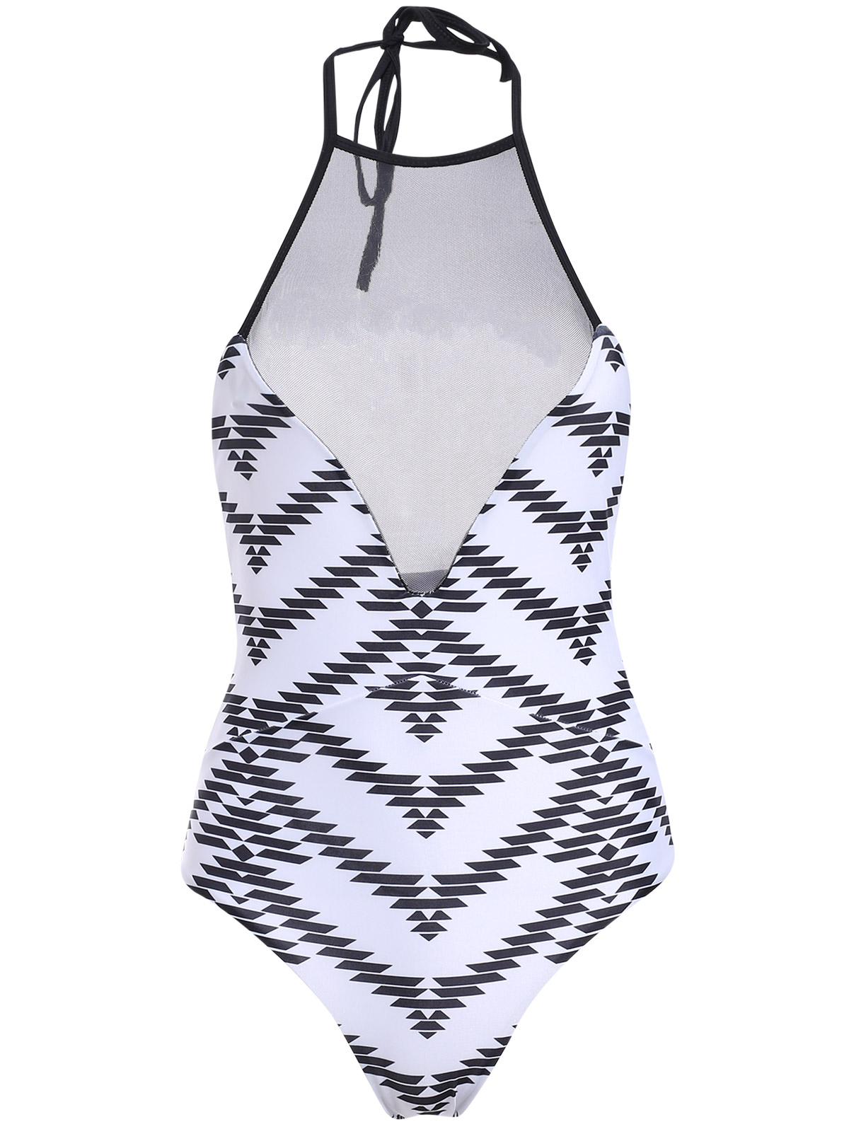 Jewel Neck Printed Voile Spliced One-Piece Swimwear