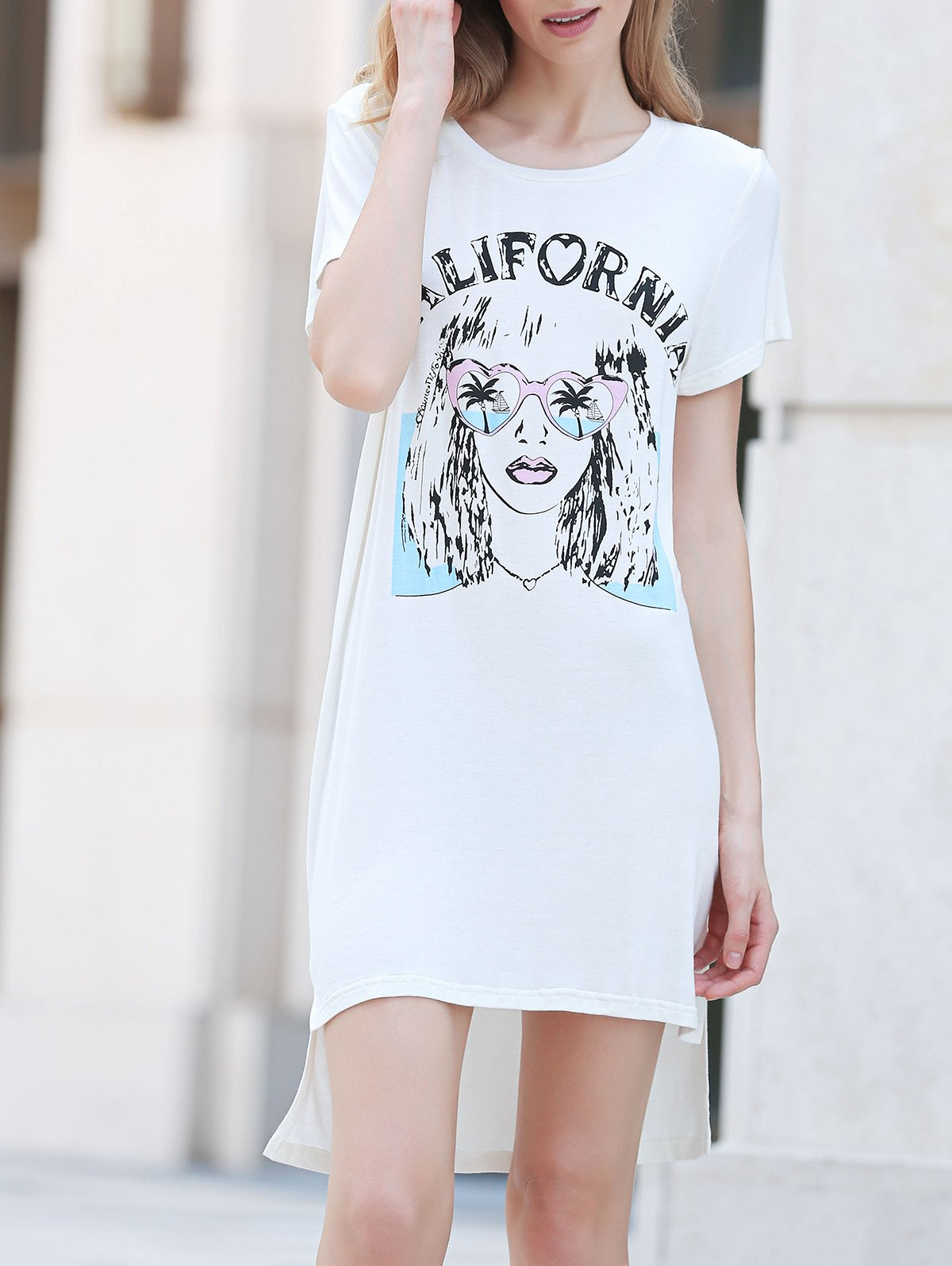 Casual Round Collar Short Sleeve Printed Dress