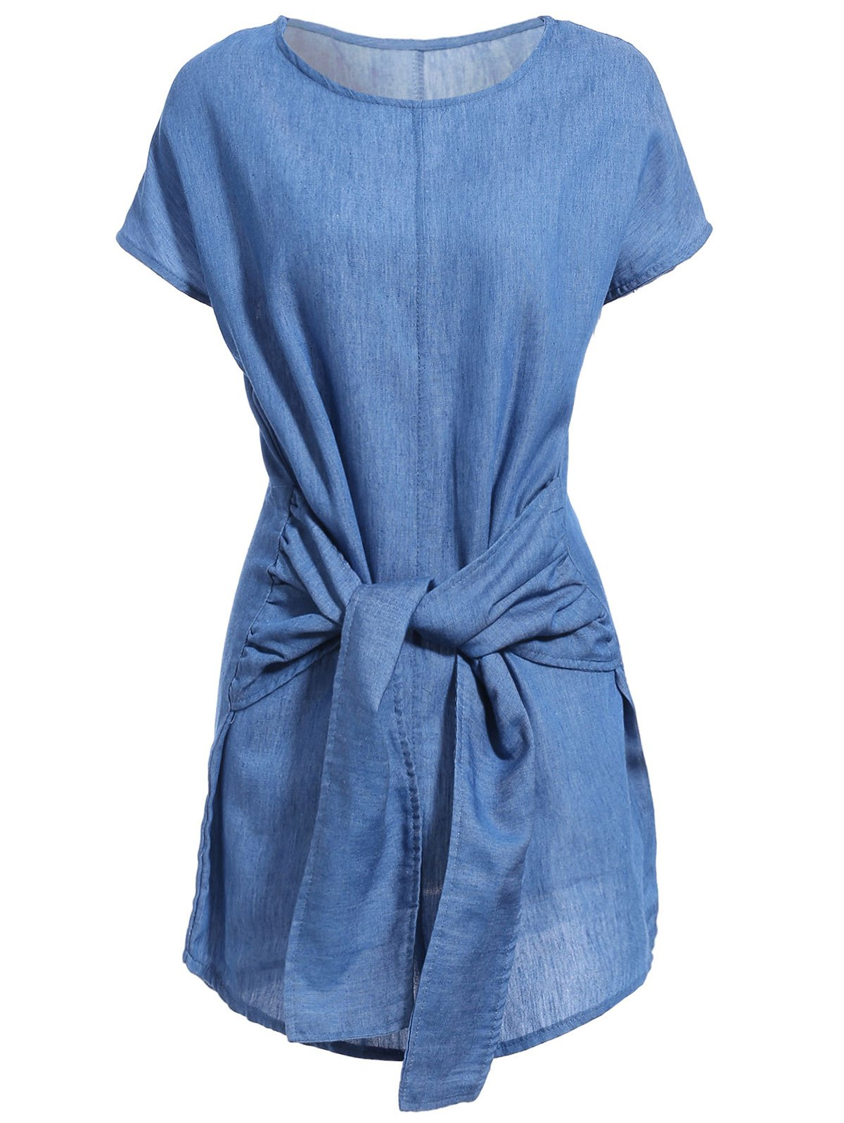 Round Neck Bat-Wing Sleeve Solid Color Tied Denim Dress