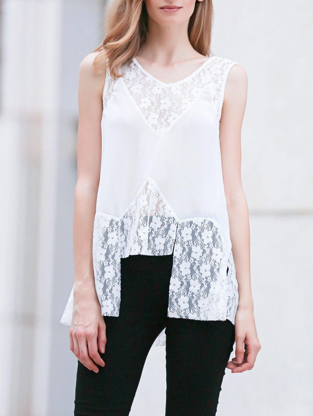 Lace Splice V Neck Sleeveless White Blouse 177344502