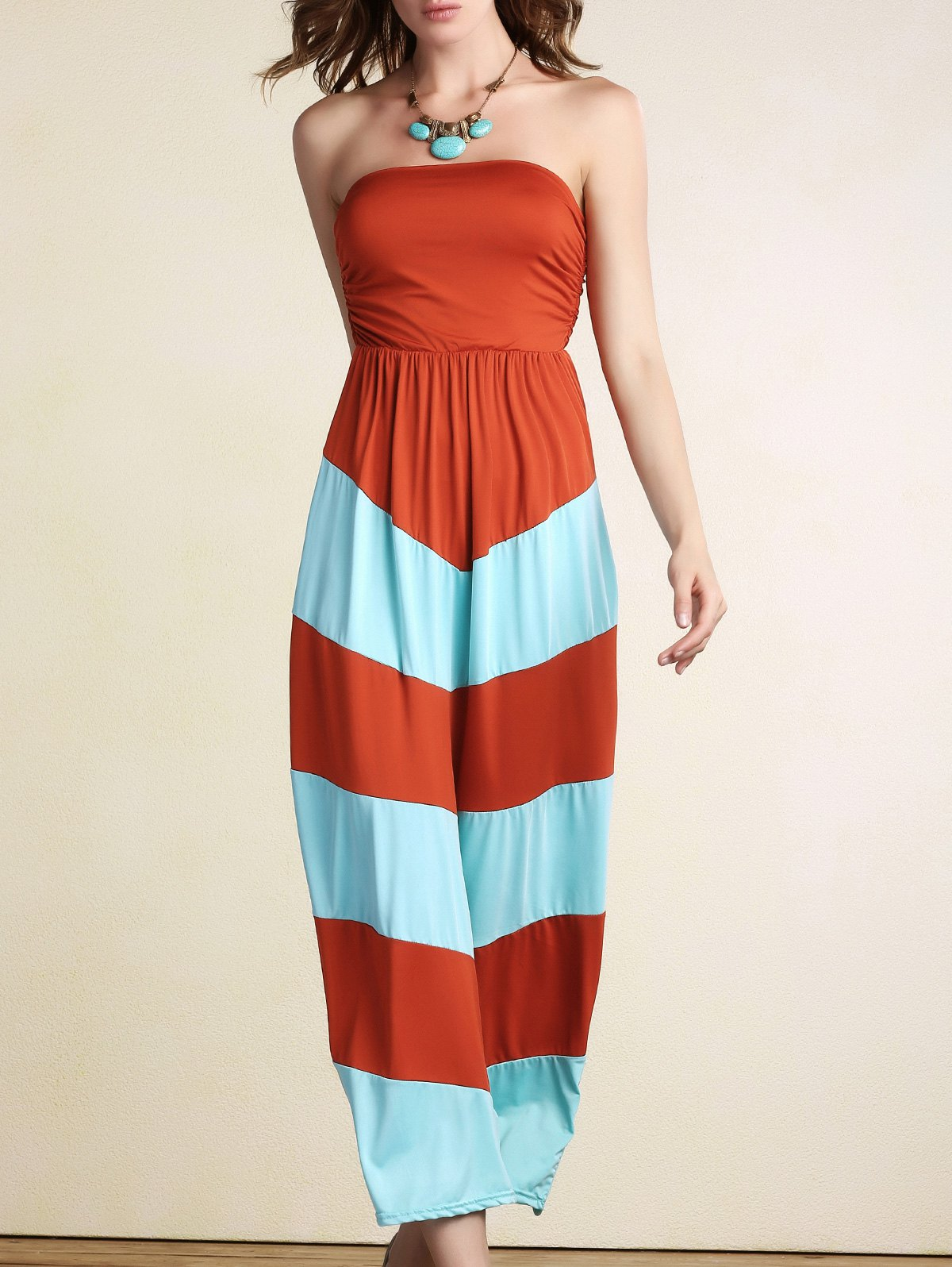 Stripe Strapless Color Block Maxi DressClothes<br><br><br>Size: S<br>Color: ORANGE
