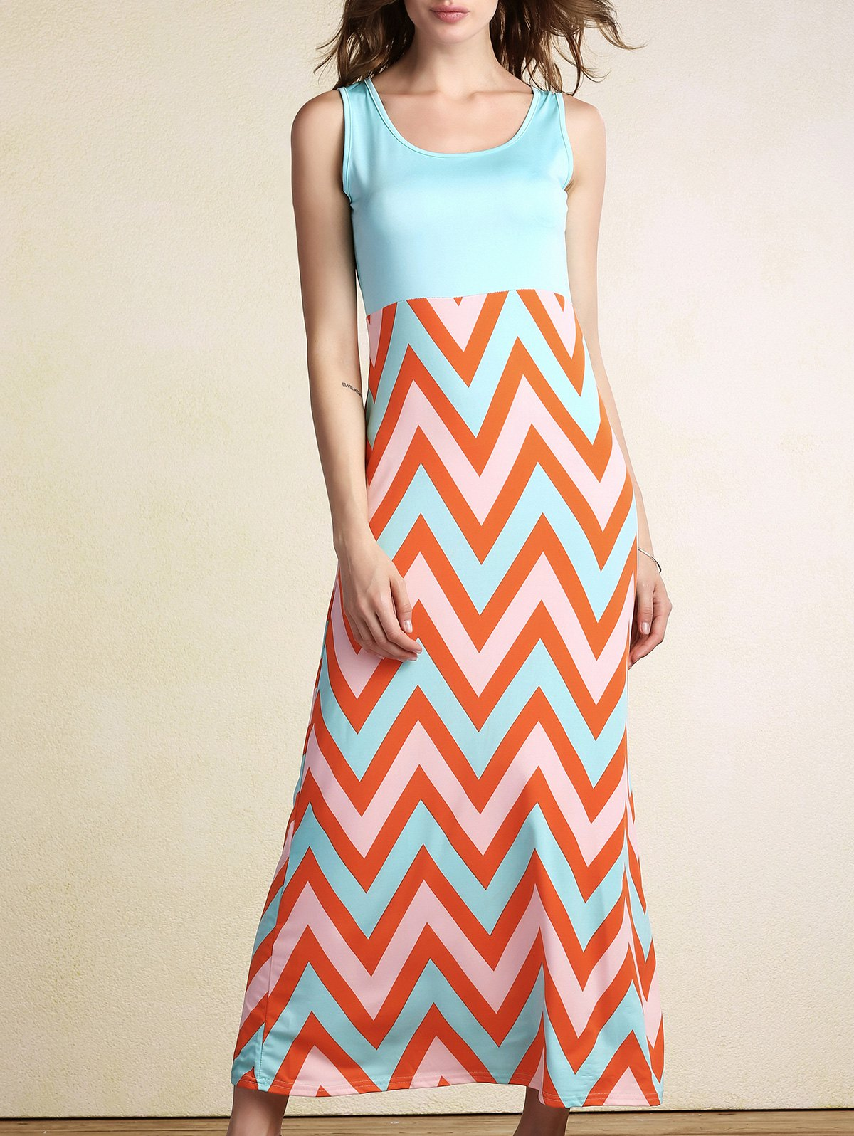 Zig Zag Splice U Neck Sleeveless Maxi Dress
