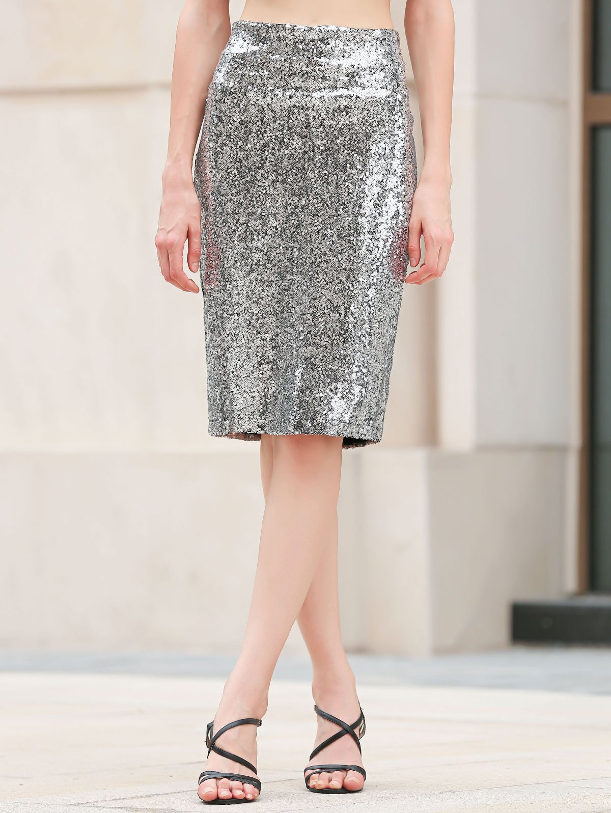 Packet Buttock Sequins Bodycon Skirt