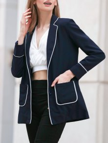 Contrasting Piped Blazer - Purplish Blue 2xl