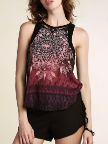 Printed Round Collar Chiffon Tank Top