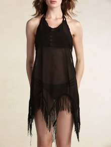 Backless Halter Fringes Spliced Cover Up