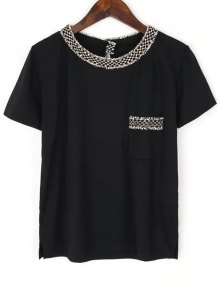Pocket Round Neck Short Sleeve T-Shirt - Black S