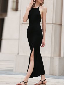 Black Side Slit Halter Maxi Dress - Black Xl