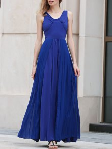 Blue Pleated V Neck Sleeveless Maxi Dress