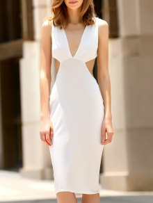 Convertible Open Back Plunging Neck Sleeveless Dress