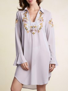 See-Through Embroidery Shirt Collar Butterfly Sleeve Blouse