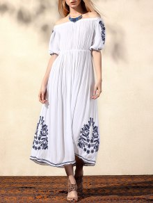 Embroidery Off The Shoulder Half Sleeve Dress