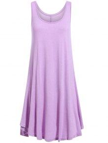 Irregular Hem Scoop Neck Sundress - Purple S