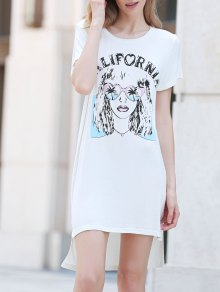 Printed Casual Round Collar Short Sleeve Dress