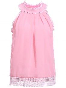 Pink Chiffon Round Neck Sleeveless Tank Top