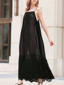 Lace Splice Cami See-Through Maxi Dress - Black 2xl