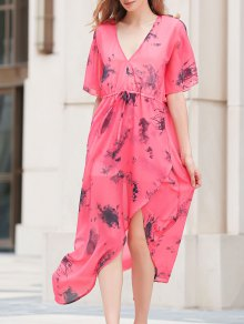Flouncy Sleeve High Furcal Chiffon Dress
