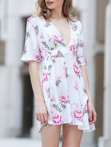 Flower Print Plunging Neck Half Sleeve Dress - S