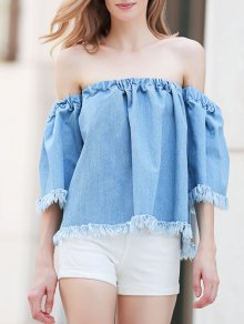 Blue Denim Off The Shoulder 3/4 Sleeve Blouse