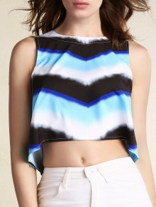 Striped Round Neck Cropped Tank Top
