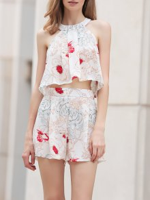 Floral Print Cropped Top And Shorts Twinset - White
